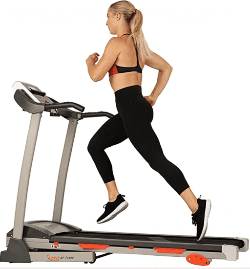 Sunny Health & Fitness Folding Treadmill with Device Holder