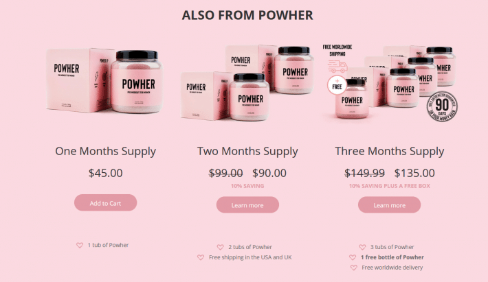 powher products to order